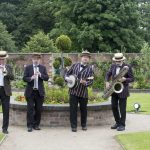 Chorley Council Flower Show Astley Park Chorley Local jazz band Cafe Society entertain in the grounds of the  walled garden